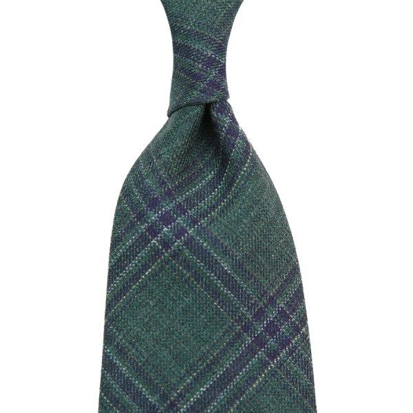 Loro Piana Checked Wool / Silk / Linen Tie - Green III - Handrolled