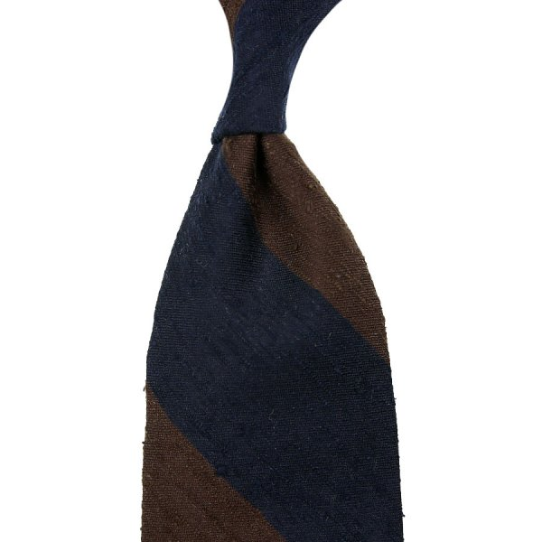 Block Stripe Shantung Silk Tie - Navy / Brown - Hand-Rolled