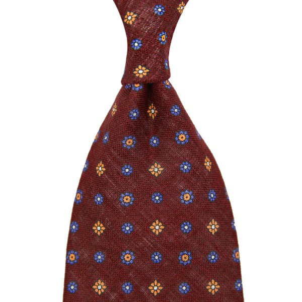 Floral Printed Linen Tie - Burgundy - Handrolled