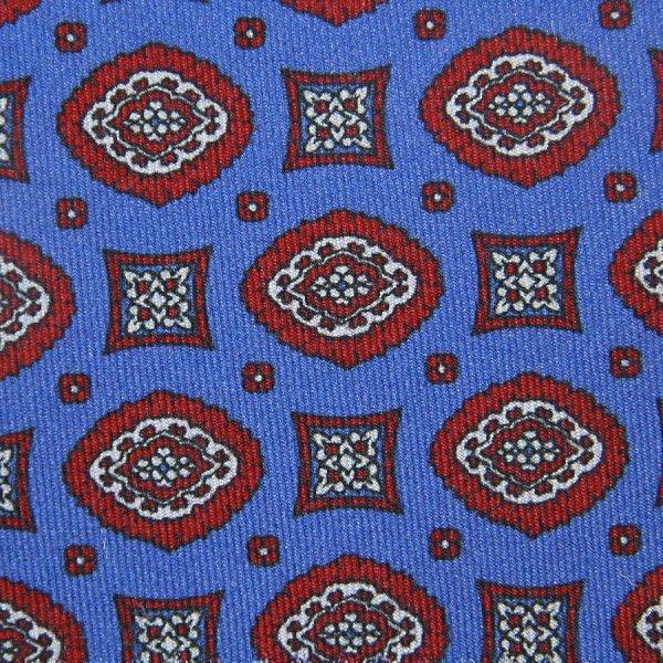 Vintage Geometrical Printed Silk Bespoke Tie - Sky