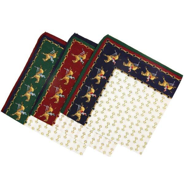 Animal Motif Cotton Handkerchief Set - White