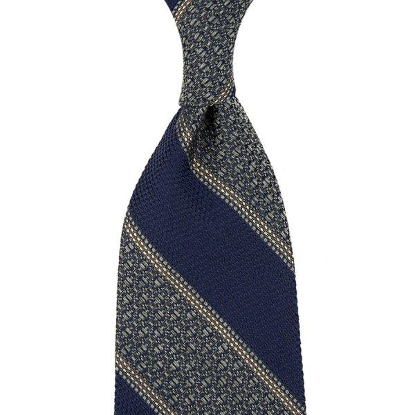 Block Stripe Grossa / Fina Grenadine Wool / Silk Tie - Navy / Grey
