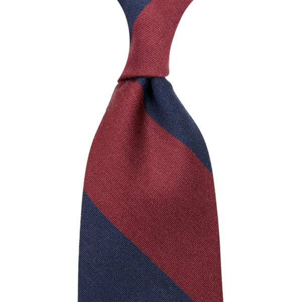 Block Stripe Cotton / Silk Tie - Navy / Burgundy - Hand-Rolled