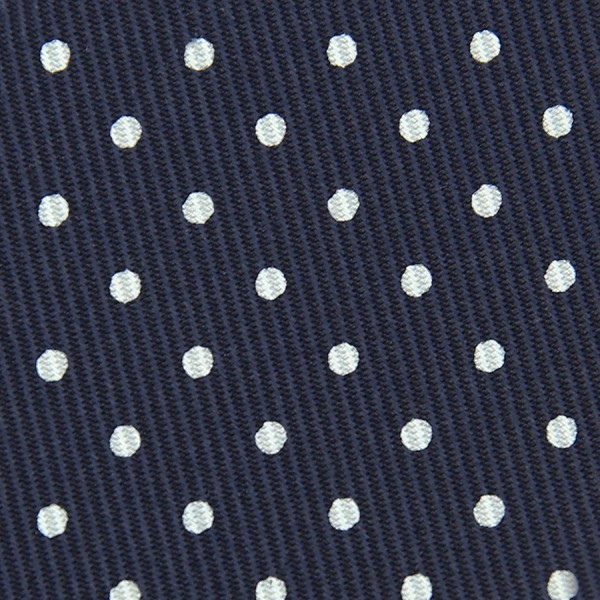 50oz Dotted Printed Bespoke Silk Tie - Navy / White