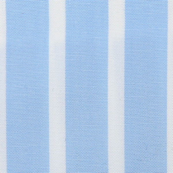 Poplin Made-To-Order Shirt - White / Sky Blue - Reverse Stripe