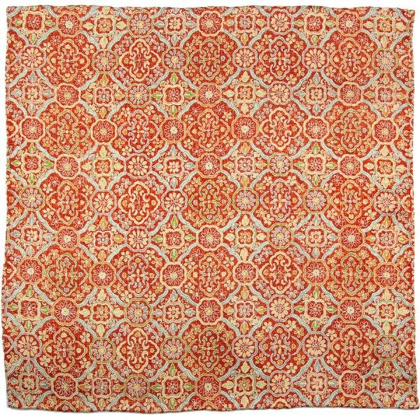 Vintage Kimono Silk Pocket Square - Red