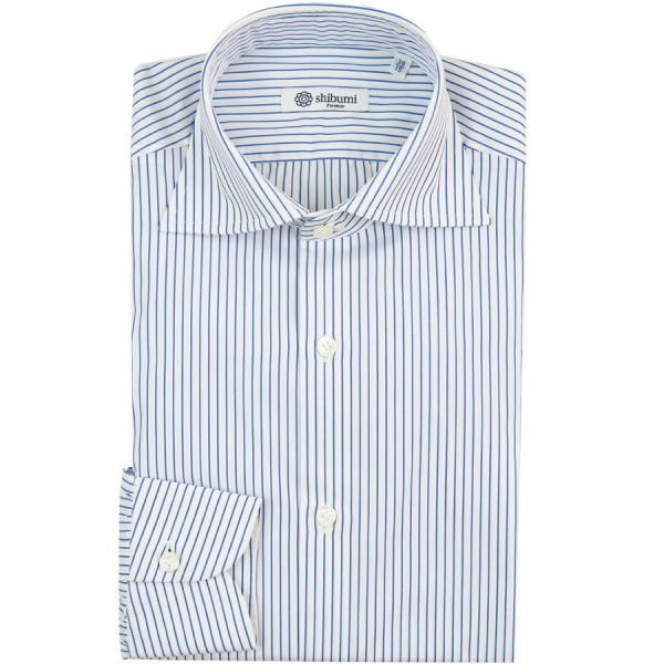 Poplin Semi Spread Shirt - White / Blue - Fine Stripe - Regular Fit