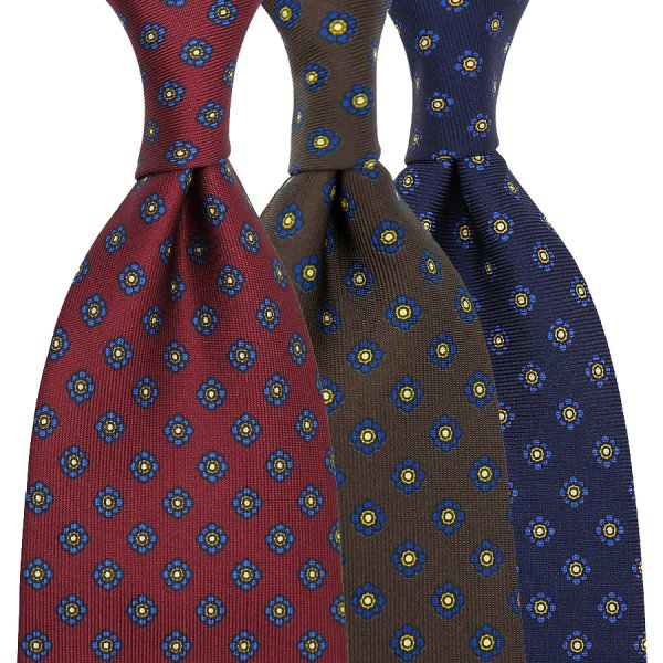 3x Shibumi-Flower Printed Silk Ties - Colors Selectable