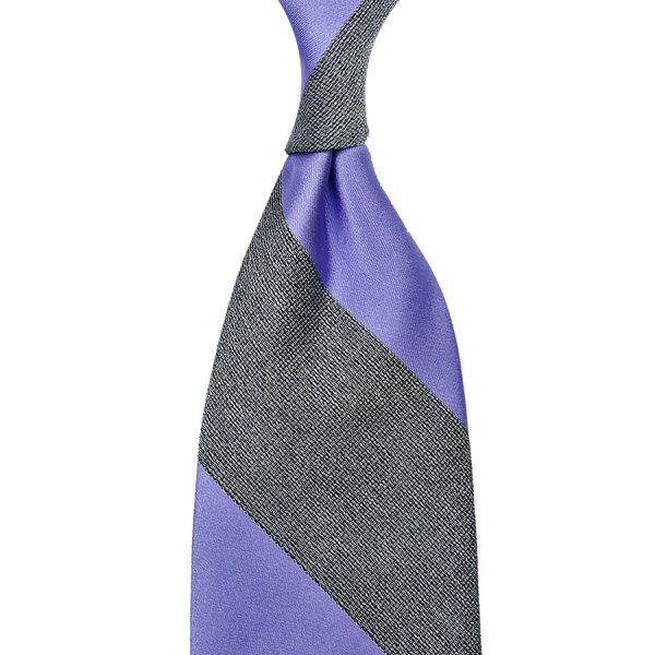 Striped Boucle / Satin Silk Tie - Purple / Grey