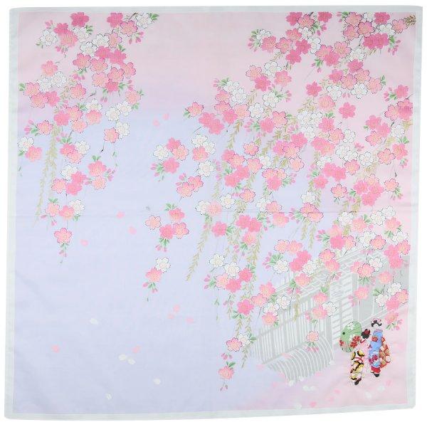 Kimono Motif Cotton Handkerchief - Pink