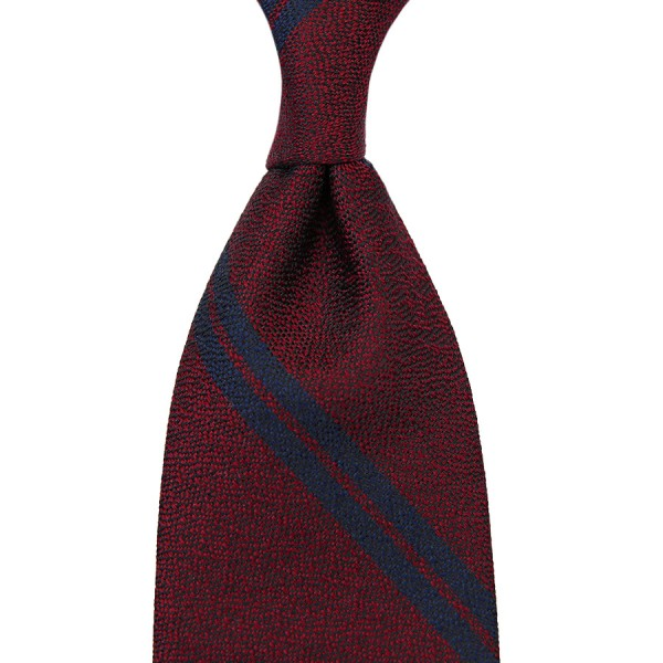 Double Bar Boucle Silk Tie - Burgundy - Handrolled