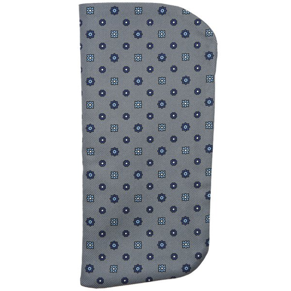 Floral Printed Silk Glasses Case - Grey
