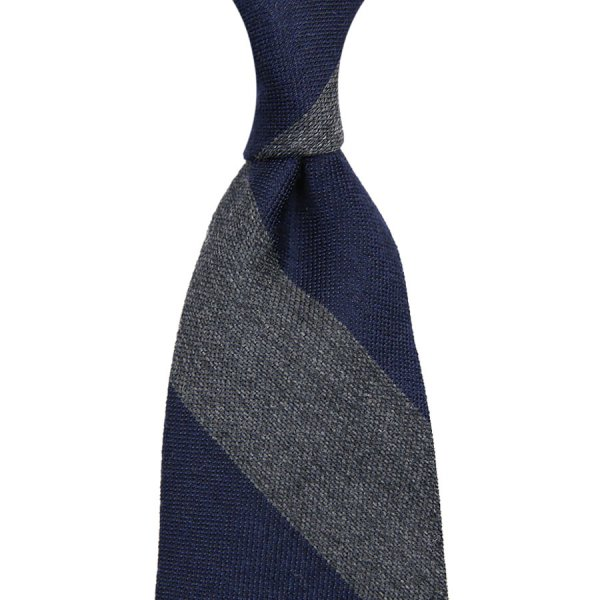 Block Stripe Wool / Silk Tie - Navy / Grey - Hand-Rolled