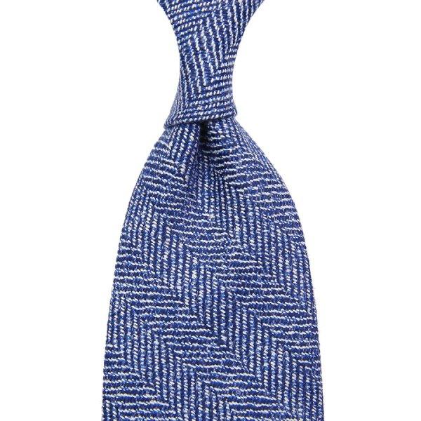 Marling & Evans Herringbone Wool / Silk Tie - Blue - Hand-Rolled