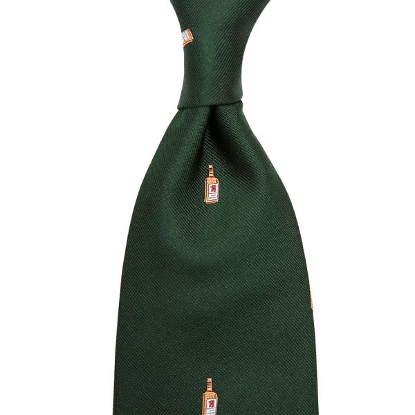 Rum Bottle Jacquard Silk Tie - Bottle Green - Hand-Rolled