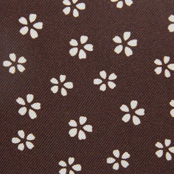 Vintage Floral Printed Bespoke Silk Tie - Chocolate