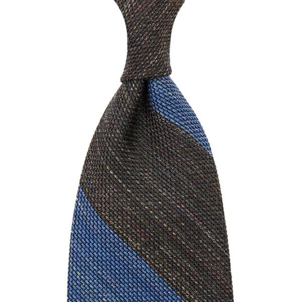 Block Stripe Grenadine / Garza Fina Linen / Silk Tie - Brown / Sky