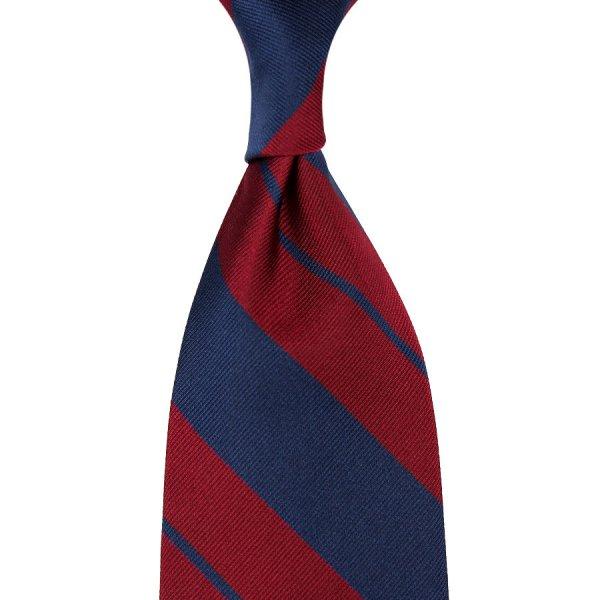Repp Stripe Silk Tie - Navy / Cherry - Hand-Rolled