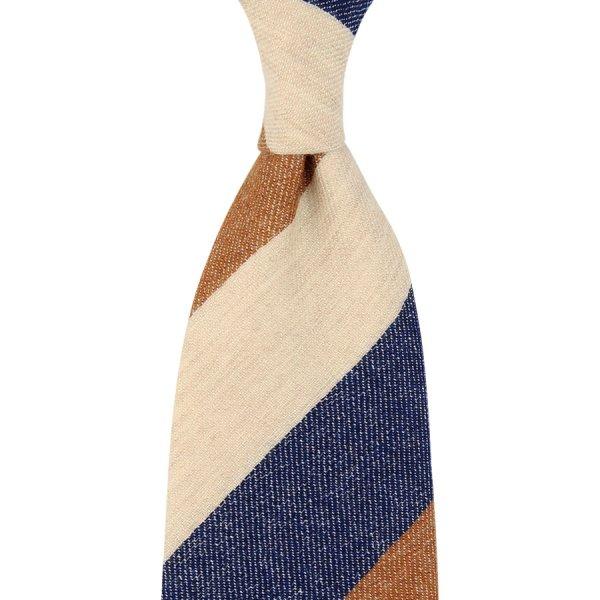 Pure Cashmere Triple Block Stripe Tie - Navy / Copper / Cream