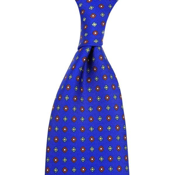 Floral Printed Silk Tie - Blue - Hand-Rolled