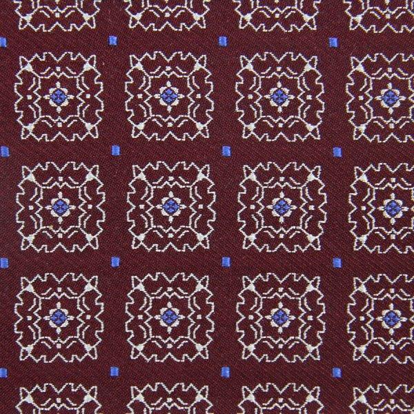Floral Jacquard Silk Bespoke Tie - Burgundy