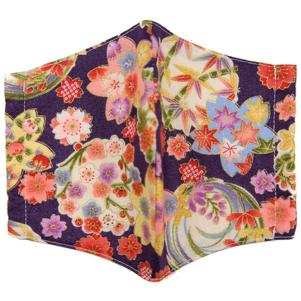 Kimono Motif Washable Cotton Mask - Eggplant