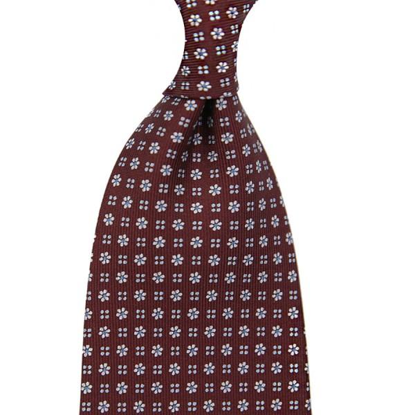 Floral Printed Silk Tie - Burgundy V - Handrolled