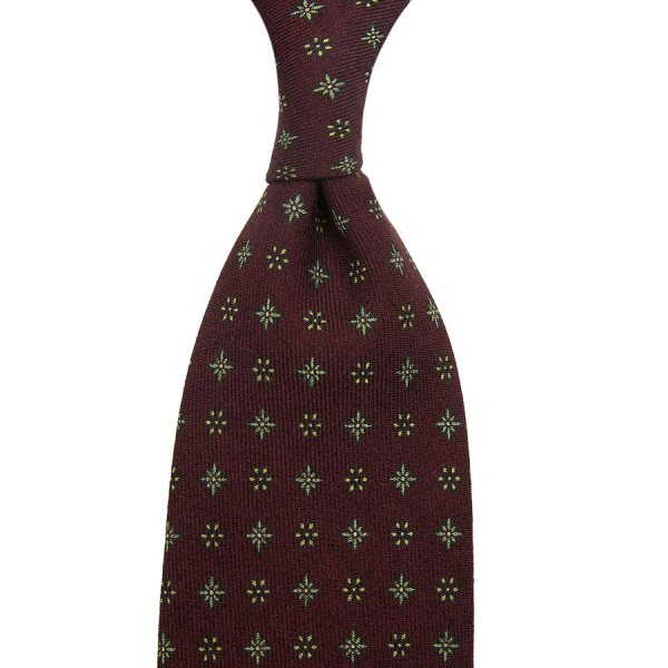 Floral Printed Wool Challis Tie - Wine - Hand-Rolled