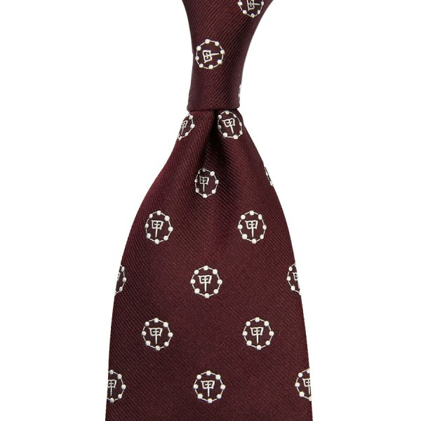 Gion Crest Jacquard Silk Tie - Burgundy - Hand-Rolled