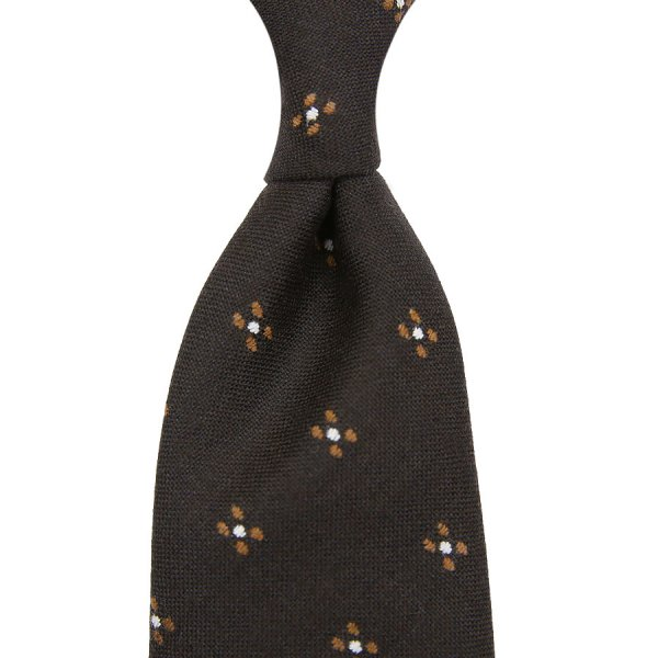 Floral Wool / Silk Boucle Tie - Chocolate - Hand-Rolled