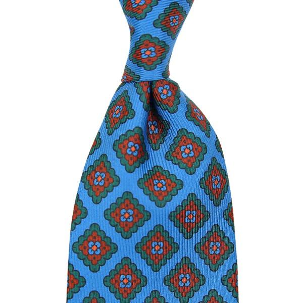 Ancient Madder Silk Tie - Madder Blue - Handrolled