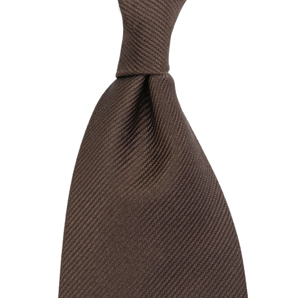 Plain Repp Silk Tie - Chocolate - Self-Tipped