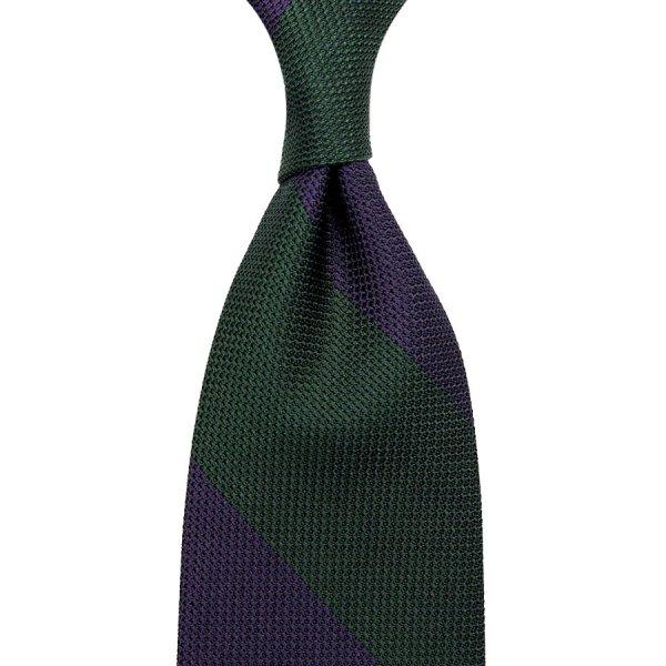 Block Stripe Grenadine / Garza Piccola Silk Tie - Forest / Eggplant
