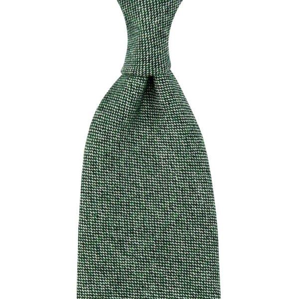Pure Cashmere Birdseye Tie - Forest - Hand-Rolled