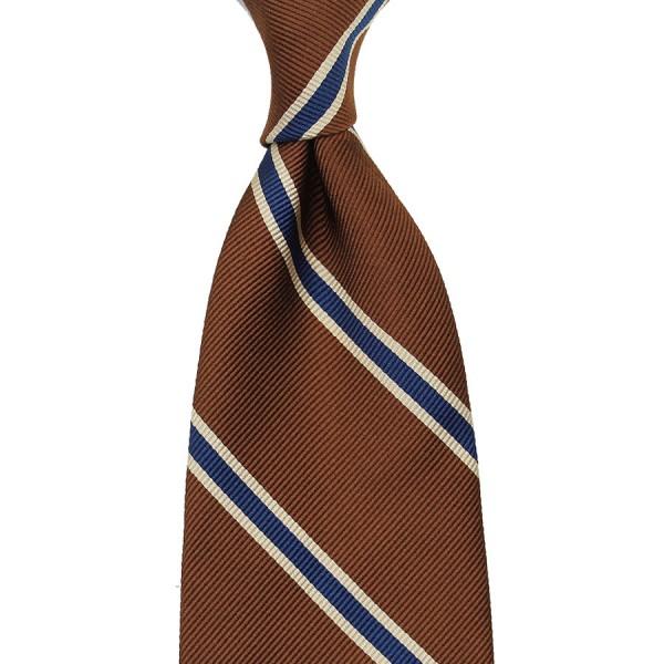 Repp Stripe Silk Tie - Copper / Navy - Handrolled - 140cm