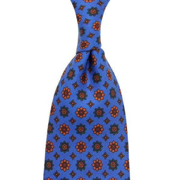 Ancient Madder Silk Tie - Madder Blue IV - Hand-Rolled