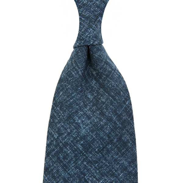 Japanese Mottled Cotton Tie - Light Navy - Handrolled