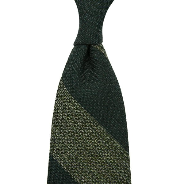 Block Stripe Grenadine Wool / Silk Tie - Forest / Grass