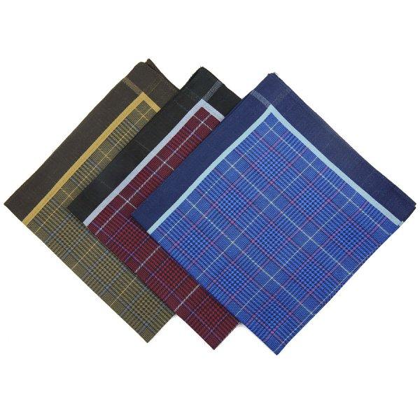 Checked Cotton Handkerchief Set - Burgundy / Navy / Brown