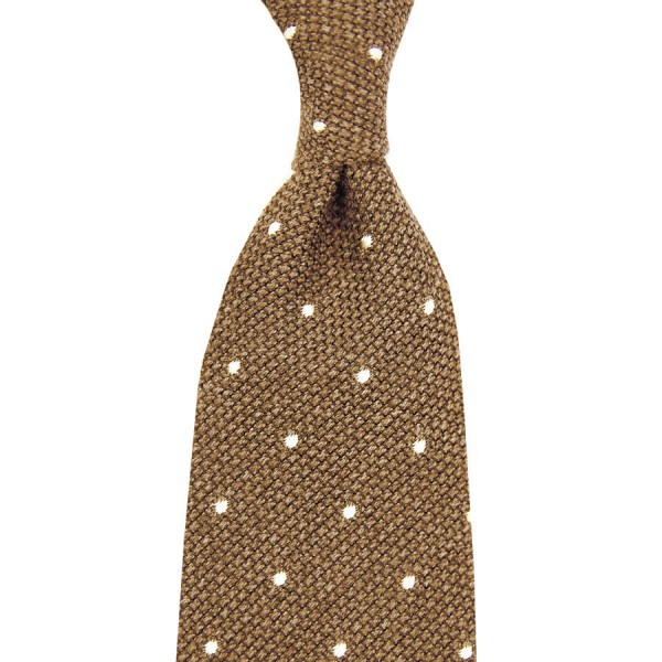 7-Fold Wool/Silk Grenadine Tie with Dots - Beige - Hand-Rolled