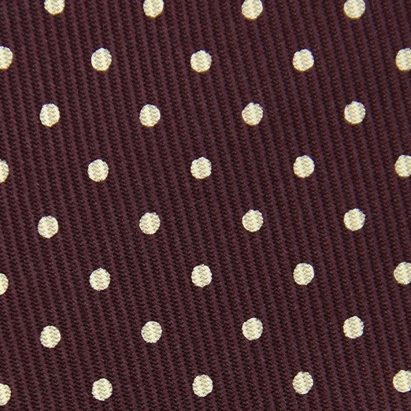 50oz Dotted Printed Bespoke Silk Tie - Burgundy