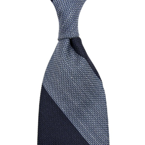 Block Stripe Grenadine / Garza Piccola Linen / Silk Tie - Navy / Sky