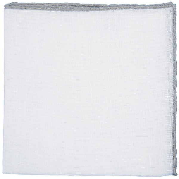 Irish Linen Shoestring Pocket Square - White / Light Grey