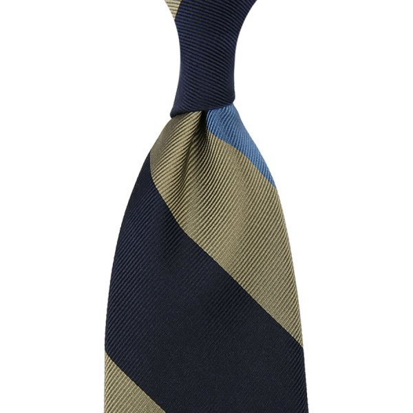 Striped Super Repp Silk Tie - Navy / Grey / Sky - Hand-Rolled