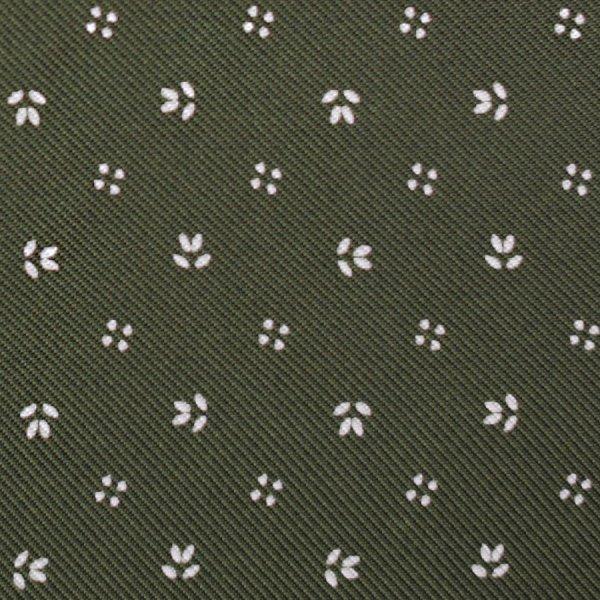 Floral Printed Silk Bespoke Tie - Olive