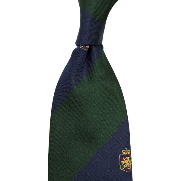 Crest Repp Silk Tie - Navy / Forest - Hand-Rolled