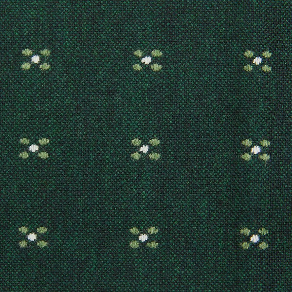 Floral Boucle Wool / Silk Bespoke Tie - Forest Green