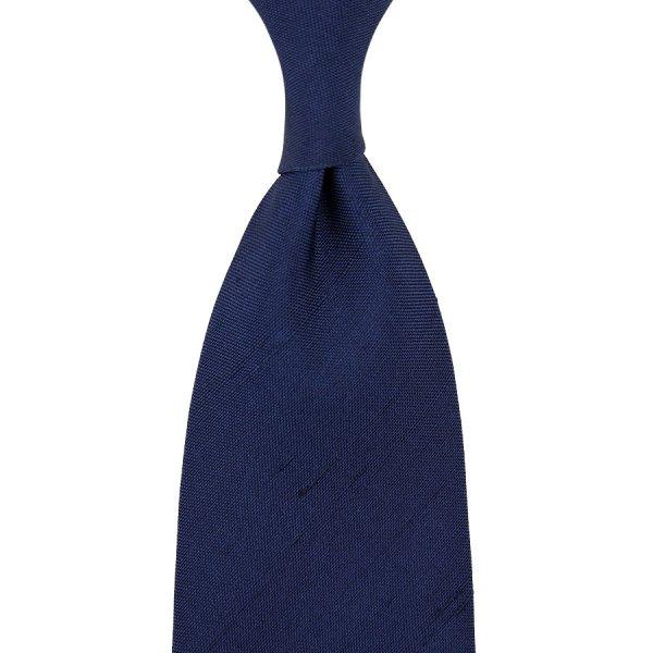 Panama Shantung Silk Tie - Navy - Hand-Rolled