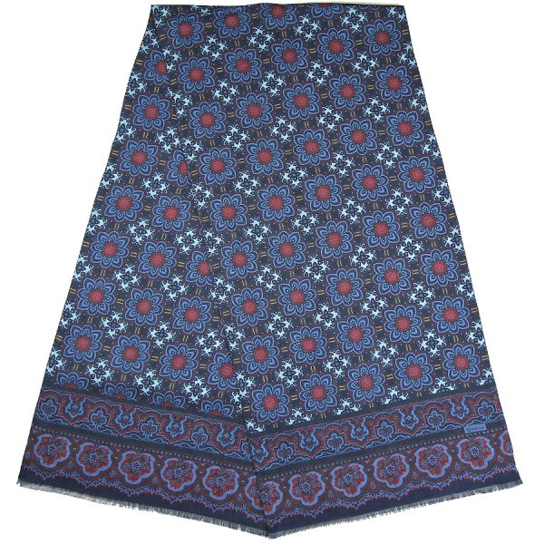 Floral Printed Wool/Silk Scarf - Navy