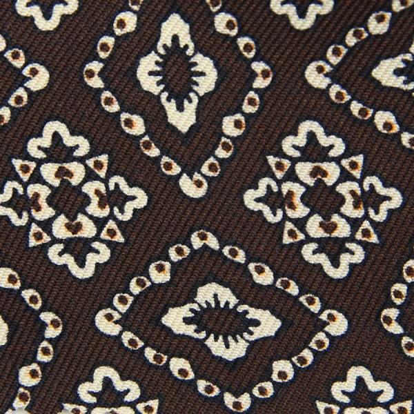 Vintage Printed Silk Bespoke Tie - Brown I